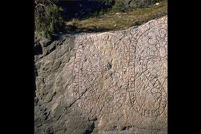 Runes written on bergvägg. Date: V